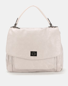 Queue Soft Flapover Shopper Bag With Pocker Grey