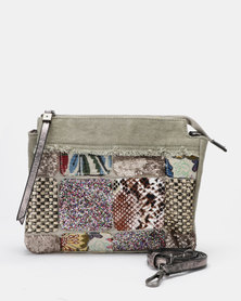 Queue Over The Body Patchwork Bag Grey/Multi