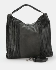 Queue Hobo With Weave Detail Black