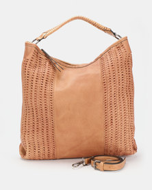 Queue Hobo With Weave Detail Tan