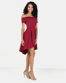 Princess Lola Boutique - Neeva Skater Dress - Burgundy