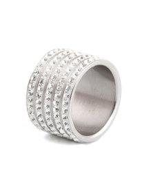 Skyla Jewels 5 Row White Stainless Steel Ring
