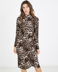 Slick Alyssa Draped Animal Print Dress Multi