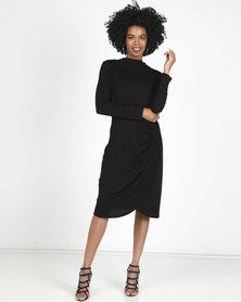 Slick Alyssa Draped  Dress Black