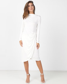 Slick Alyssa Draped  Dress White