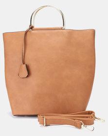 Utopia Metal Handle Handbag Brown