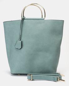 Utopia Metal Handle Handbag Blue