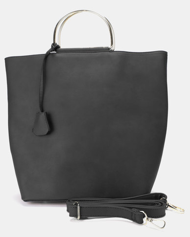 Utopia Metal Handle Handbag Black