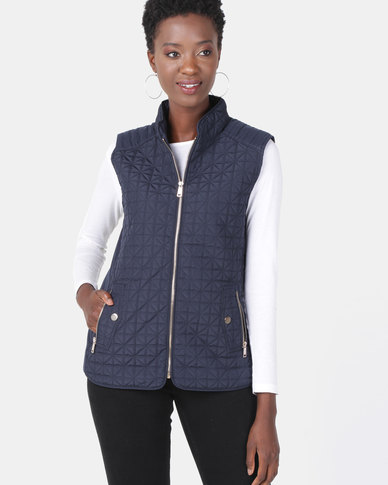 cath.nic By Queenspark Triangle Design Sleeveless Puffer Gilet Navy
