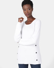 cath.nic By Queenspark Button Trim Core Jersey Cream