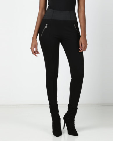 cath.nic By Queenspark Zip Detail Ponti Leggings Black