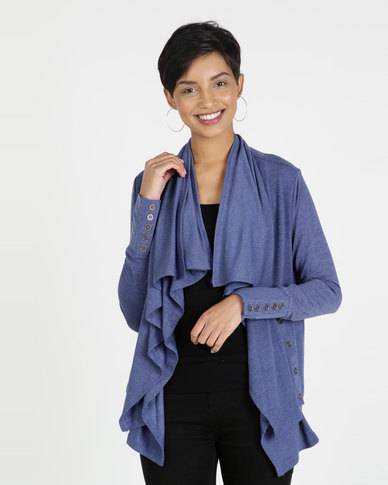Miss Cassidy By Queenspark Waterfall Knit Jacket Blue