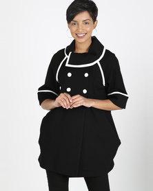 Queenspark Smart Contrast Knit Coat Black & White