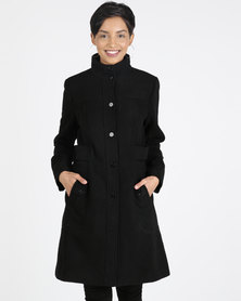 Queenspark Button through Winters Tale Coat Black