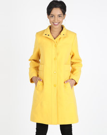 Queenspark Button through Winters Tale Coat Yellow