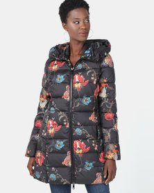 Queenspark Hooded Floral Printed Puffer Multi