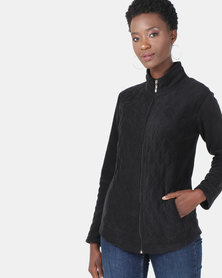 Queenspark Long Sleeve Quilted Zip Through Fleece Jacket Black