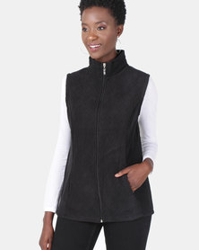 Queenspark Quilted Sleeveless Polar Fleece Jacket Black