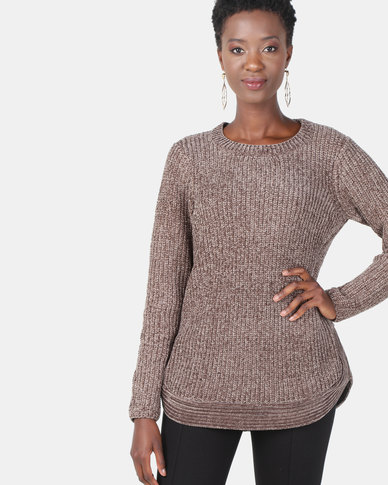 Queenspark Chenille Long Sleeve Crewneck Knitwear Mocha