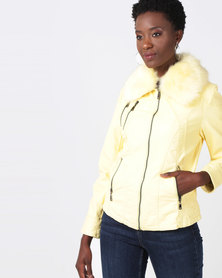 Queenspark Woven Pleather Jacket with Detachable Collar Yellow