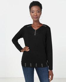 Queenspark Diamante Trim Knitwear Top Black