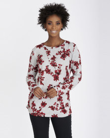 Contempo Cut & Sew Top with Necklace Red