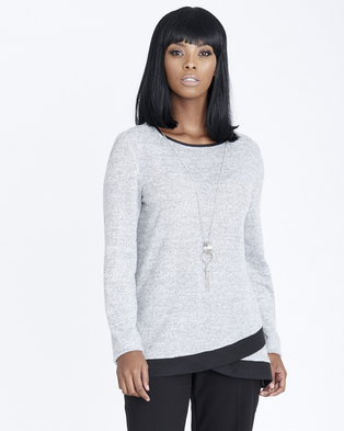 9f88abbbe9 Contempo Block Colour Top with Necklace Grey