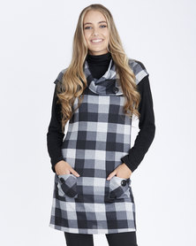 Contempo Check Pinnie with Pockets Grey