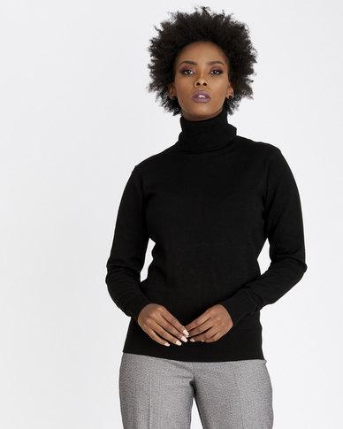 Contempo Poloneck Knitwear Black
