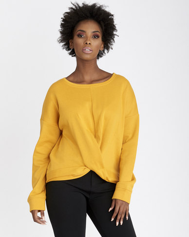 Contempo Twist Fleece Top Ochre