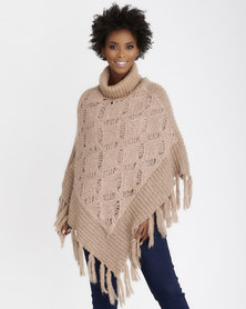Contempo Textured Poncho with Sequins Rose