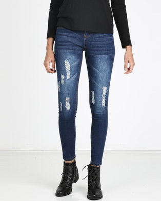 Utopia Medium Wash Ripped Skinny Jeans With Abrasion