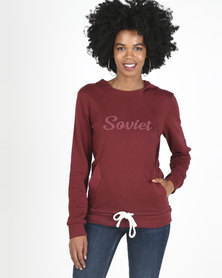 Soviet Moraine Pull Over Hooded Sweat Top Burgundy