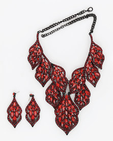 The Jewellery Box BOLD Crystal Necklace & Earring RED