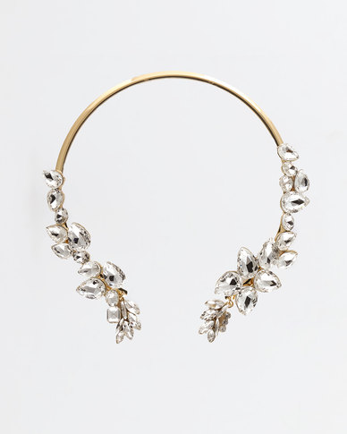 The Jewellery Box Crystal Leaf Choker Silver