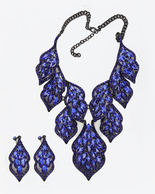 The Jewellery Box Bold Crystal Necklace & Earring Blue