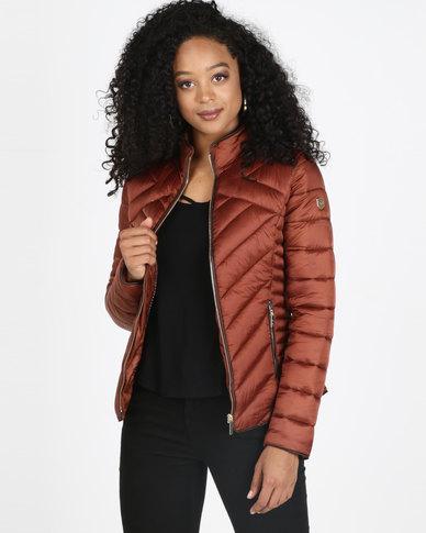 Sissy Boy Short Puffer Jacket Rust