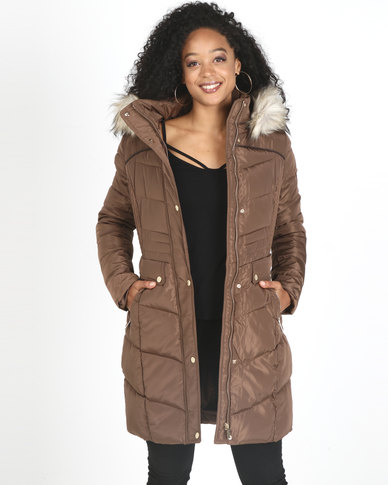 Sissy Boy Longer Length With Faux Fur Puffer Jacket Taupe