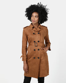 Sissy Boy Suede Trench Coat Tan