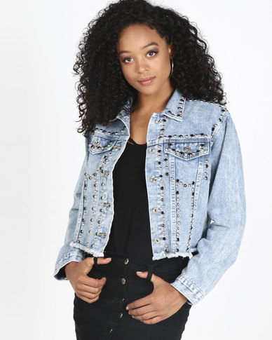 Sissy Boy Trim Detail Crop Denim Jacket Blue