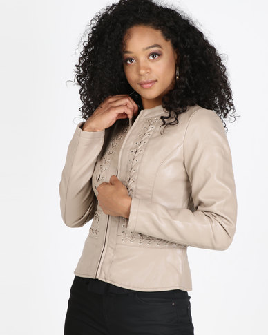 Sissy Boy Feminine With Lace Up  Detail Biker Jacket Taupe