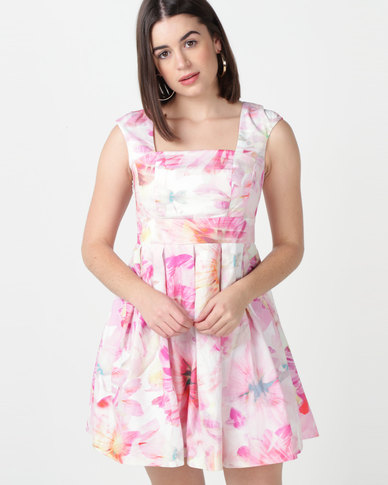 Utopia Floral Cotton Flare Dress With Belt Multi