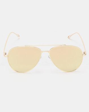 1c195e765ef You   I Mirror Lense Aviator Sunglasses Gold