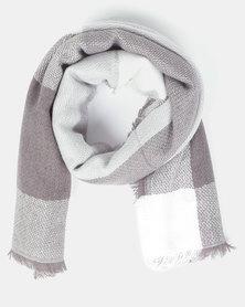 You & I Oversized Gingham Blanket Scarf Grey Multi