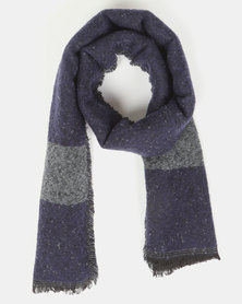 You & I Oversized Colour Block Blanket Scarf Dark Grey Multi