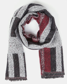 You & I Oversized Colour Block Blanket Scarf Marsala Multi