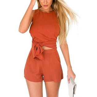 YOINS Women New High Fashion Clothing Casual Sleeveless Orange Convertible Co-ord Top