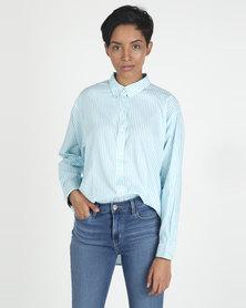 Levi's® Painter Shirt Basswood Swim Blue Stripe