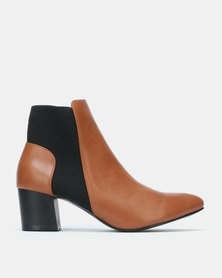 Jada Chelsea Block Heel Boot Tan