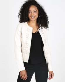 Sissy Boy Feminine With Lace Up  Detail Biker Jacket Cream